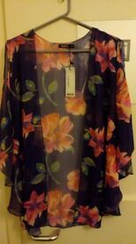 "Boohoo - Summer throw - ""Tammy large floral woven cold shoulder"""