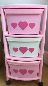Girls pink storage drawers