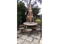 Wooden garden table and chair set