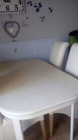 Cream dining table 149 mm long x 90mm wide