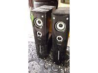 pair of karaoke speakers dj music system set