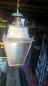 copper lantern initialed VR, interior or exterior origional natural weathered patina