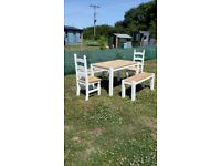 Solid Oak Dining Table, Benches and Chairs