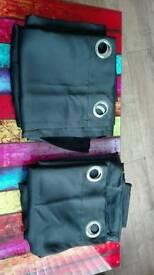 Black eyelet curtains x2 sets