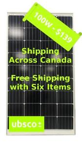 100W UBSCO MONO-CRYSTALLINE SOLAR PANEL - Ships Canada Wide
