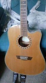 Washburn electro acoustic guitar solid top.