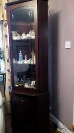 Mahogany Slimline Corner Display and storage