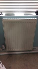 White double panel radiator with conversion kit