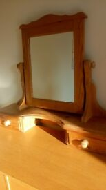 Unwaxed pine mirror unit.