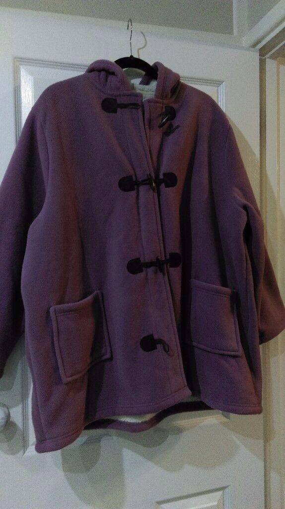 Fleece lined microfiber duffel coat