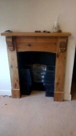 wooden fire place