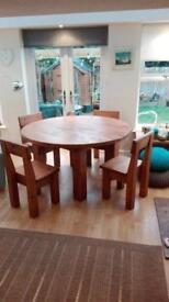 Indigo Solid plank pine dining table and 4 chairs