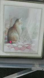 Cat picture in wooden frame