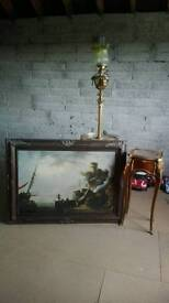 Fishing portrait on canvas with antique frame