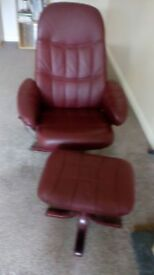 Red leather chair and footstool