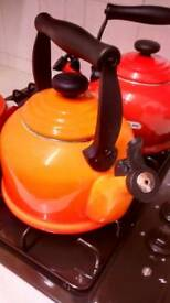 Lecreuset volcanic orange kettle