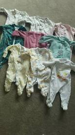 Newborn And First Size Girls Sleepsuits