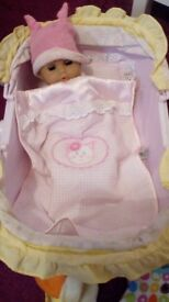 Carry cot, doll and clothes