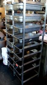 Commercial Catering Stainless Steel Gastro Rack Tray Trolley with pans