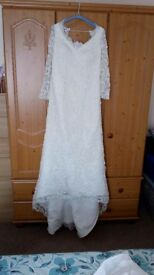 Wedding dress size 12, bridal shoes size 6, tiara.
