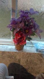 flower display in a basket