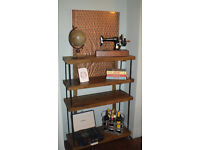 Industrial Rustic bookcase hairpin legs Storage Unit Chestnut & Steel