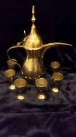 Ornamental original Morrocan / Arabic Brass Coffee Pot and 6 Cups.