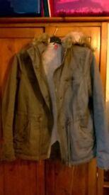 Ladies H+M Parka Style Coat Size 14