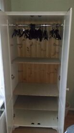 White Wardrobe with removable shelving £20