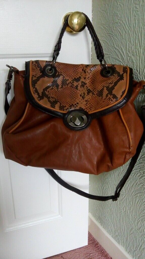 1ac13f65ff76 Brown Red Herring Handbag with snakeskin affect flap