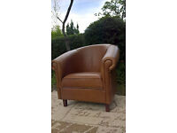 A Stunning Sir.Aniline Tanned Leather Tub Chair.