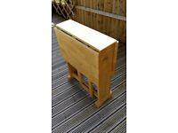 Fold down table oak wood