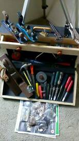 Vintage hand tools, and hand made box,