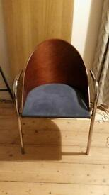 Beautiful modernist chair, chrome, wood and blue suede