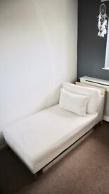 Chaise Lounge cream fabric sofa