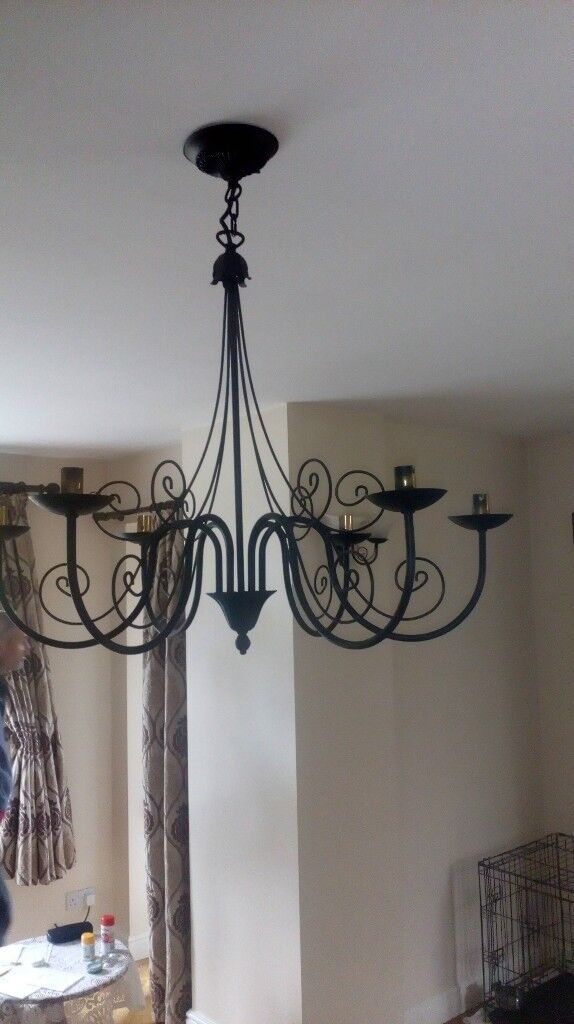 Beautiful hand made steel black light fitting and matching wall lights