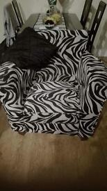Black and White Zebra Print Chair
