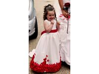 Bridesmaid dress with red petals. Based on Etsy design.