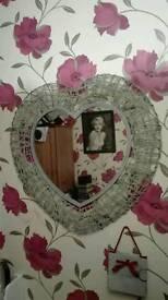 Grey heart shaped mirror