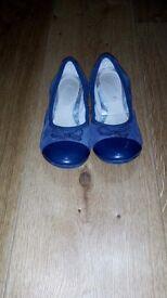 Girls Clark's blue ballet pumps
