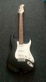 J&D Black and White Electric 6 string Guitar