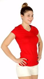 V-Neck Cotton T-Shirt Red