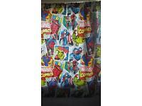 Marvel comic strip curtains.