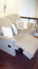 Two seater recliner sofa - £10. Cream coloured, good condition and comfortable!!