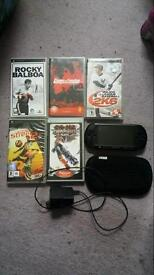 Psp console and 5 games/movies