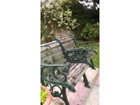Wooden Garden Patio Table and 4 Chairs with wrought iron sides