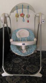 Chicco Polly Baby Child Swing rocker Cradle Swinging Seat Rocking boy girl Newborn Canopy Motorised
