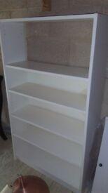 White Formica bookshelves