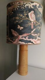 LARGE WOOD LAMP WITH VINTAGE SHADE
