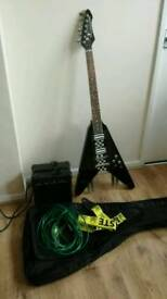 Stagg G Force Flying V Electric Guitar with Challenge Amplifier
